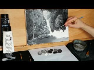 Hidden Waterfall in the Misty Forest