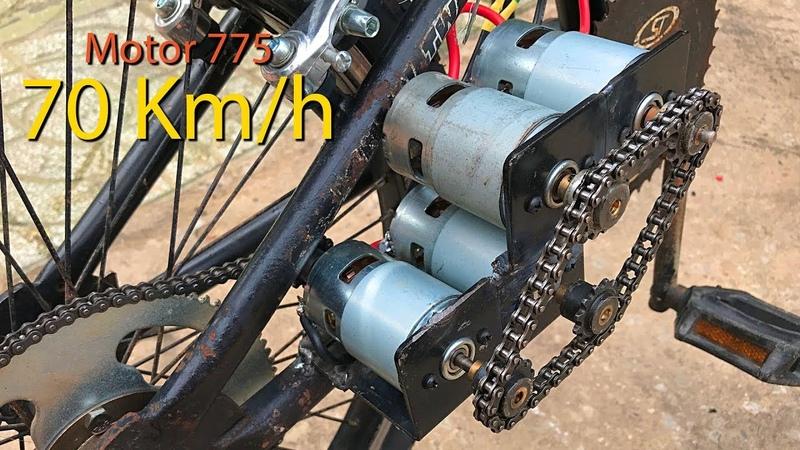 Chế xe đạp điện sử dụng 4 Motor 775 tốc độ 70kmh   DIY Make Electric Bike using motor