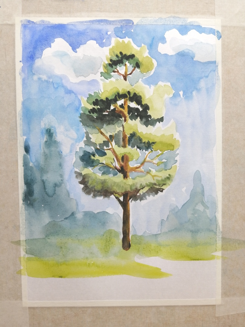 ОНЛАЙН-УРОК по рисованию «Сосна», изображение №8