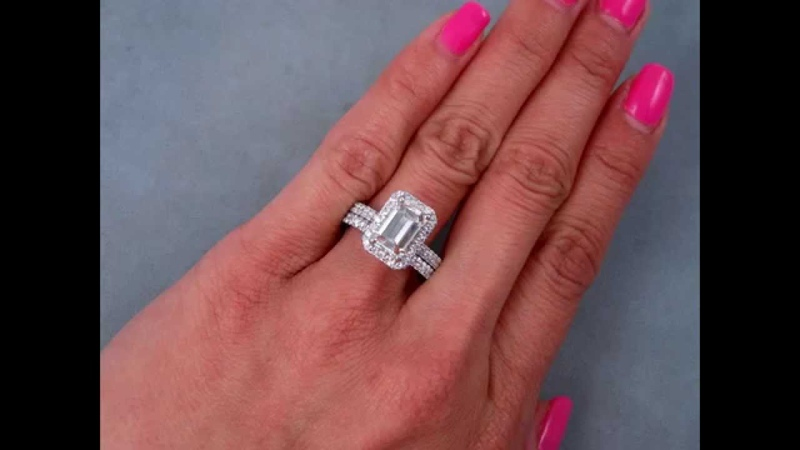 2.79 ctw Emerald Cut Engagement Ring and Wedding Band Set - BigDiamondsUSA