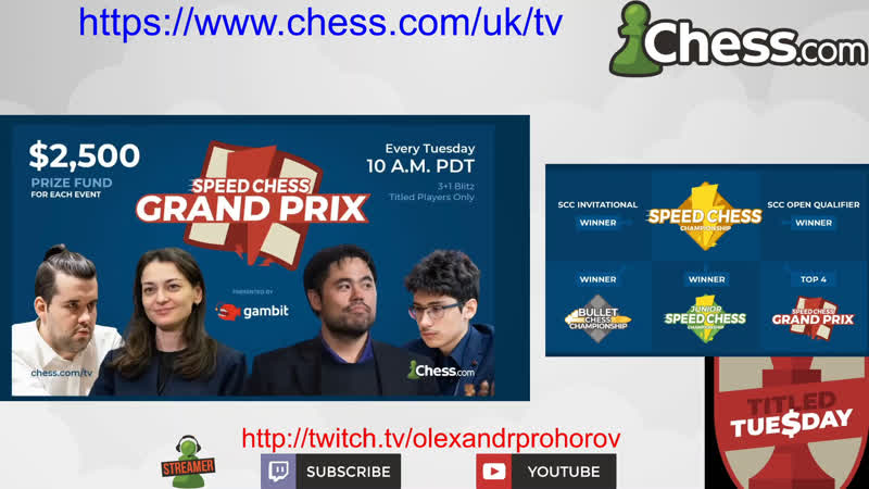 Olexandr Prohorov Plays Titled Tuesday Speed Chess Grand Prix August 4th 2020