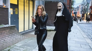 She has no Idea what's  behind Her. Craziest Reactions. The Nun Prank