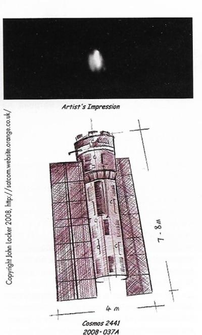 Снимок с Земли и представление художника первого спутника «Персона». (кредит: Джон Локер) (указанный веб-сайт больше не в сети)