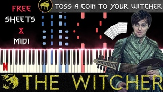 Toss a Coin to Your Witcher (Jaskier Song) - Synthesia Piano Tutorial + FREE MIDI/SHEETS