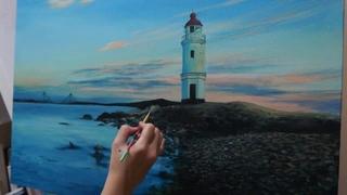 "Time-Lapse Speed Painting: ""Lighthouse"" By Katrina Canedo"