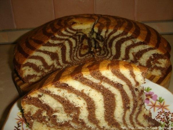 """Пирог """"Зебра""""  Простой рецепт, а какой красивый пирог!  2,5 стакана..."""