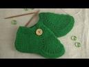Женские тапочки-следки спицами. МК. Вязание для начинающих. Самый простой способ вязания следков.