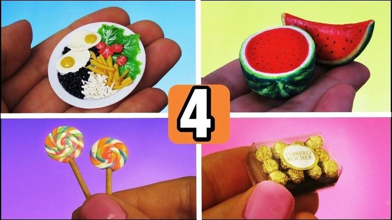 4 Comidinhas Fáceis de Fazer para Bonecas BARBIE melancia arroz feijão bombom pirulitos e mais