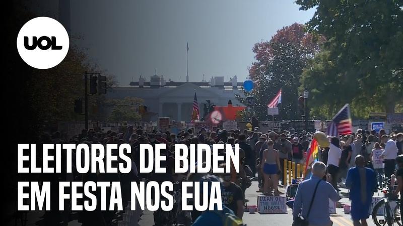 Joe Biden vence Apoiadores comemoram em frente à Casa Branca, em Washington