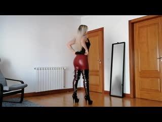 Red leather leggings thigh high vinyl boot heels leatherbykarina(1)