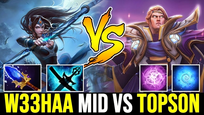 W33 Mirana Magic Build Midlane vs TOPSON Quas Wex Invoker 7.22 Dota 2