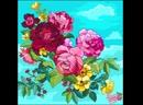 Coloring БУКЕТ НЕЖНЫХ РОЗ И ЛЮТИКОВ НА ФОНЕ ГОЛУБОГО НЕБА / a bouquet of delicate roses and buttercups on a blue sky background