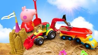Fizemos os melhores castelos de areia com a Peppa Pig! Educação infantil com brinquedos e jogos