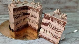 шоколадный БИСКВИТНЫЙ торт ЗЕБРА! Эффектный и вкусный! Ручным миксером!
