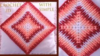Crochet para almohadones cobijas para bebes punto degradé de colores en 3D tejido tallermanualperu