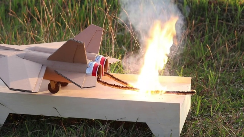 How to Make Jet with Cardboard - Matches Powered Amazing Fire