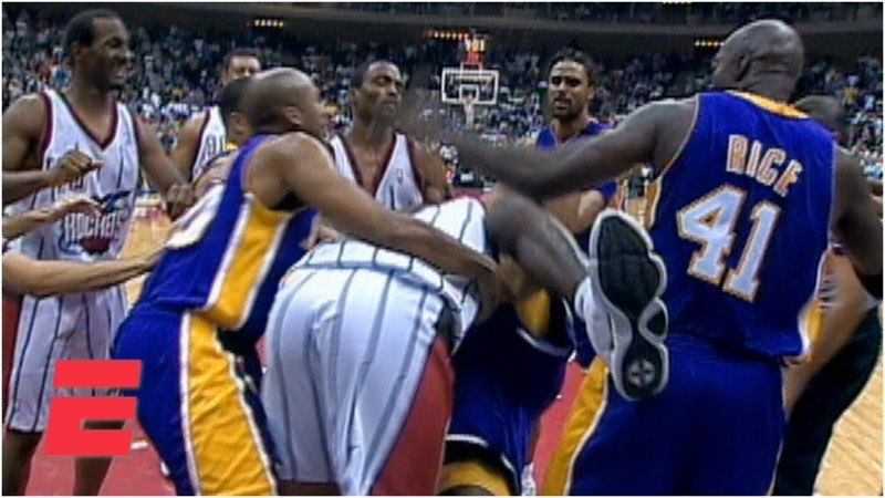 Shaquille O'Neal and Charles Barkley fight during Lakers vs Rockets game 1999 ESPN Archives