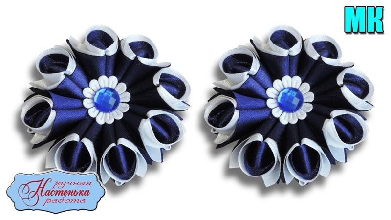 Простые бантики резинки из атласных лент 5 см МК Канзаши Kanzashi Ribbon Roses Hair Bows
