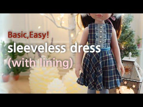 인형옷만들기 기초 안감있는 민소매원피스 만드는 법 dolls clothes DIY sleeveless dress with lining