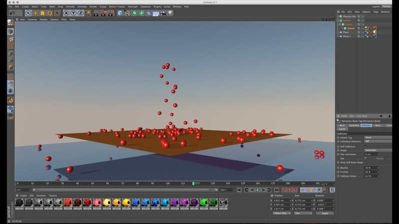 How to Simulate Emitters using Collider Rigid Dynamics in Cinema 4D Tutorials