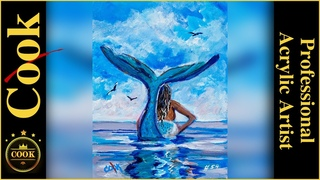 How to Paint a Mermaid Heading Out to Sea in Acrylic Paints Quarantine Quickie #54 with Ginger Cook