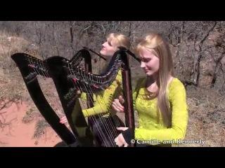Американские сестры-близнецы игрют на арфах!!!  PINK FLOYD - Wish You Were Here (Harp Twins electric) Camille and Ke