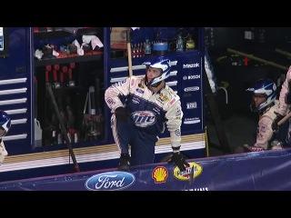 Brad Keselowski drags jack onto the track (Charlotte Motor Speedway 2013)