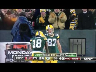 Aaron Rodgers to Jordy Nelson for 65 yard touchdown. 12-08-14