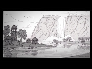 How to Draw a Waterfall City (with narration)