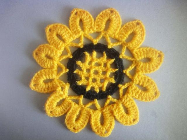 Мотив ПОДСОЛНУХ SUN FLOWER Crochet Motif