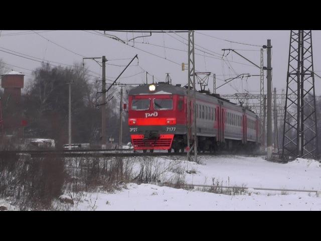 Электропоезд ЭР2Т-7177 станция Икша