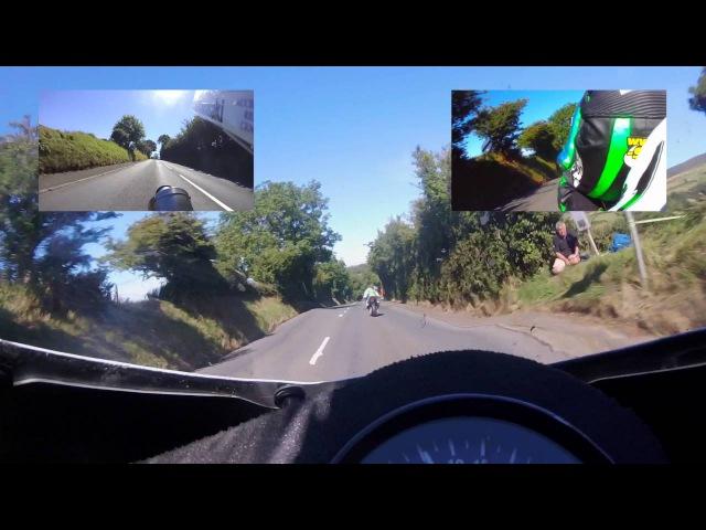 Classic TT 2016 Dean Harrison overtakes Horst Saiger Kawasaki head to head