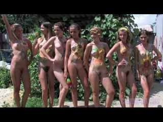 Young nudist girls play with a ball in the courtyard  2015 — DaftSex->