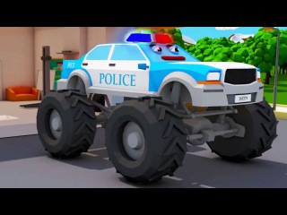 Monster Police Car With Monster Truck Car Accident | 3D Animation for Kids Cars Team Cartoons