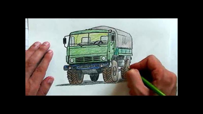 Как нарисовать Камаз карандашом поэтапно Ehedov Elnur Kamaz masin sekli nece cekilir