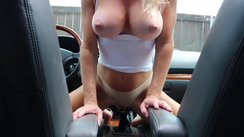 Girl Fucks The Car Gear Stick All By Herself