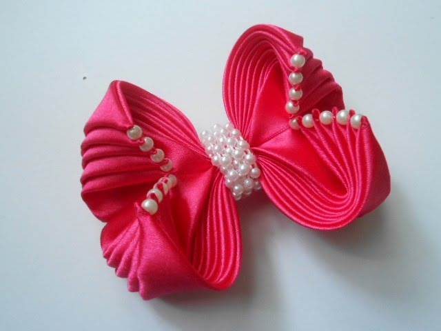 Красивый бант из ленты своими руками МК/ DIY Beautiful ribbon bow51