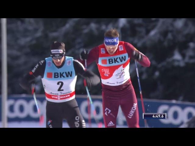 🇷🇺 Сергей Устюгов и Александр Большунов 2 й и 3 й в гонке преследования на 15 км в Ленцерхайде Тур Де Ски 2018 Этап 3