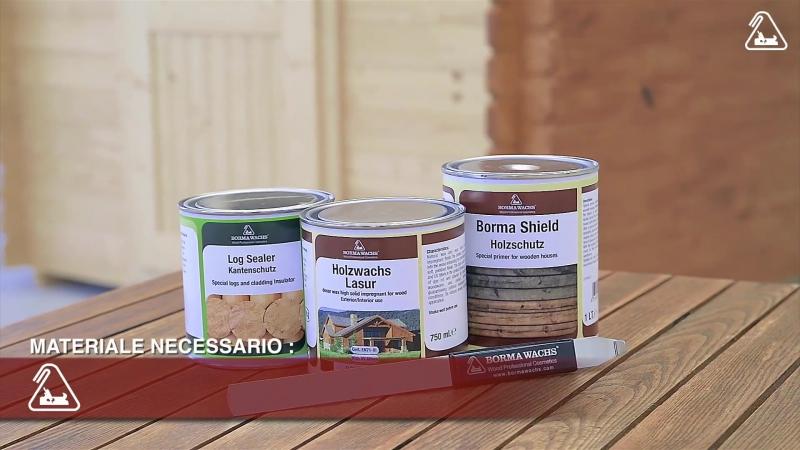 LOG SEALER Trattamento per esterni Ciclo di finitura di una casa in legno con Holzwachs lasur 3 in 1