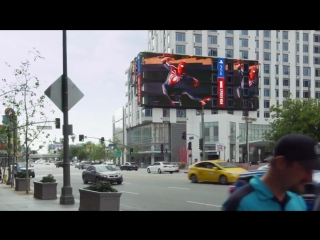 Giant spider-man ps4 ad in downtown la