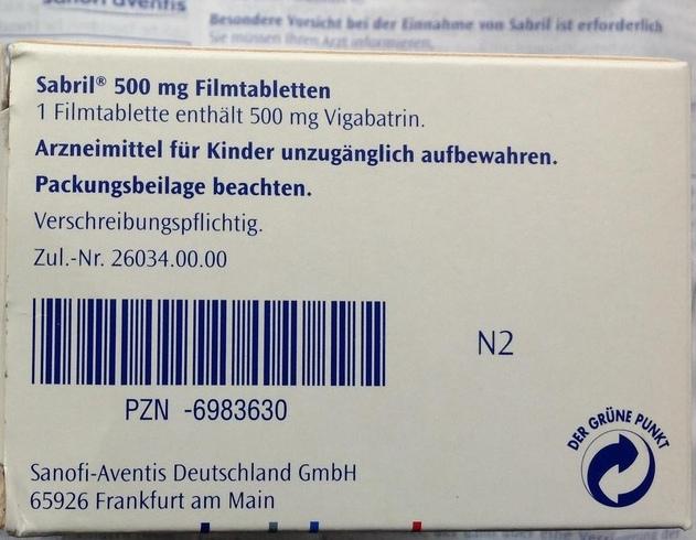 Пример маркировки немецкого оригинального Sabril (Сабрил).