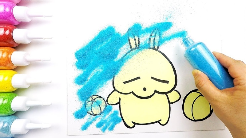 Rabbit(Mashimaro) coloring drawing studying English for kids ㅣ 토끼(마시마로) 그리기 색칠하기 영어 공부