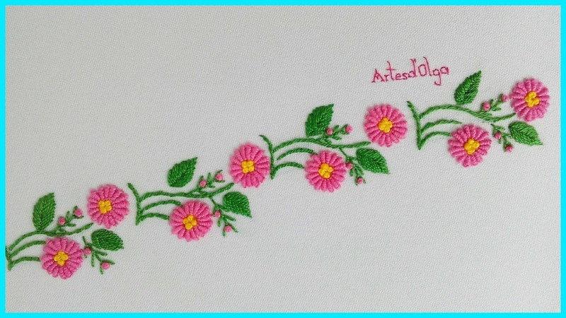 Hand Embroidery Border line Design with Bullion Stitch | Bordado a Mano Borde con Puntada Rococó