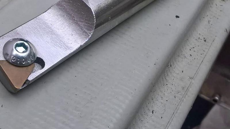 CNC milling a lathe boring bar TPG insert
