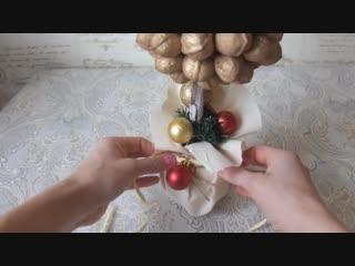 Новогодний декор топиарий из орешков _топиарий из природных матерьялов_Christmas topiary