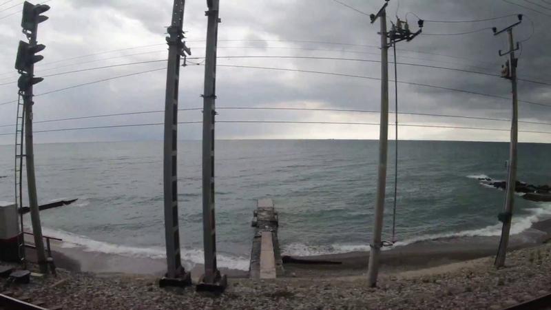 Адлер Сочи Лоо Лазаревская Туапсе. Побережье черного моря. Звук поезда и моря. Шум для сна