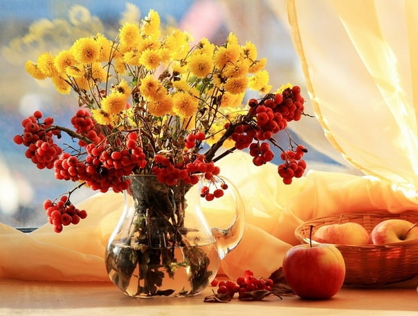 ситуация открытки с осенними цветами с добрым утром это инструмент