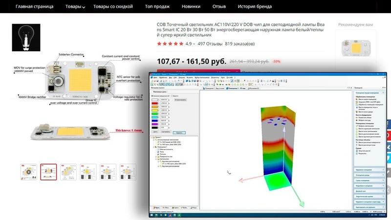 Пример расчета освещения в гроубоксе с китайскими бездрайверными матрицами в программе Dialux
