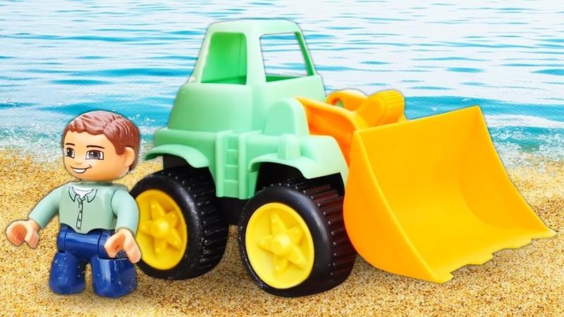 Весёлая игра строим с Большими Машинками в песочнице! - Сборник видео для детей с игрушками