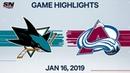 NHL Highlights | Sharks vs. Avalanche – Jan. 16, 2020